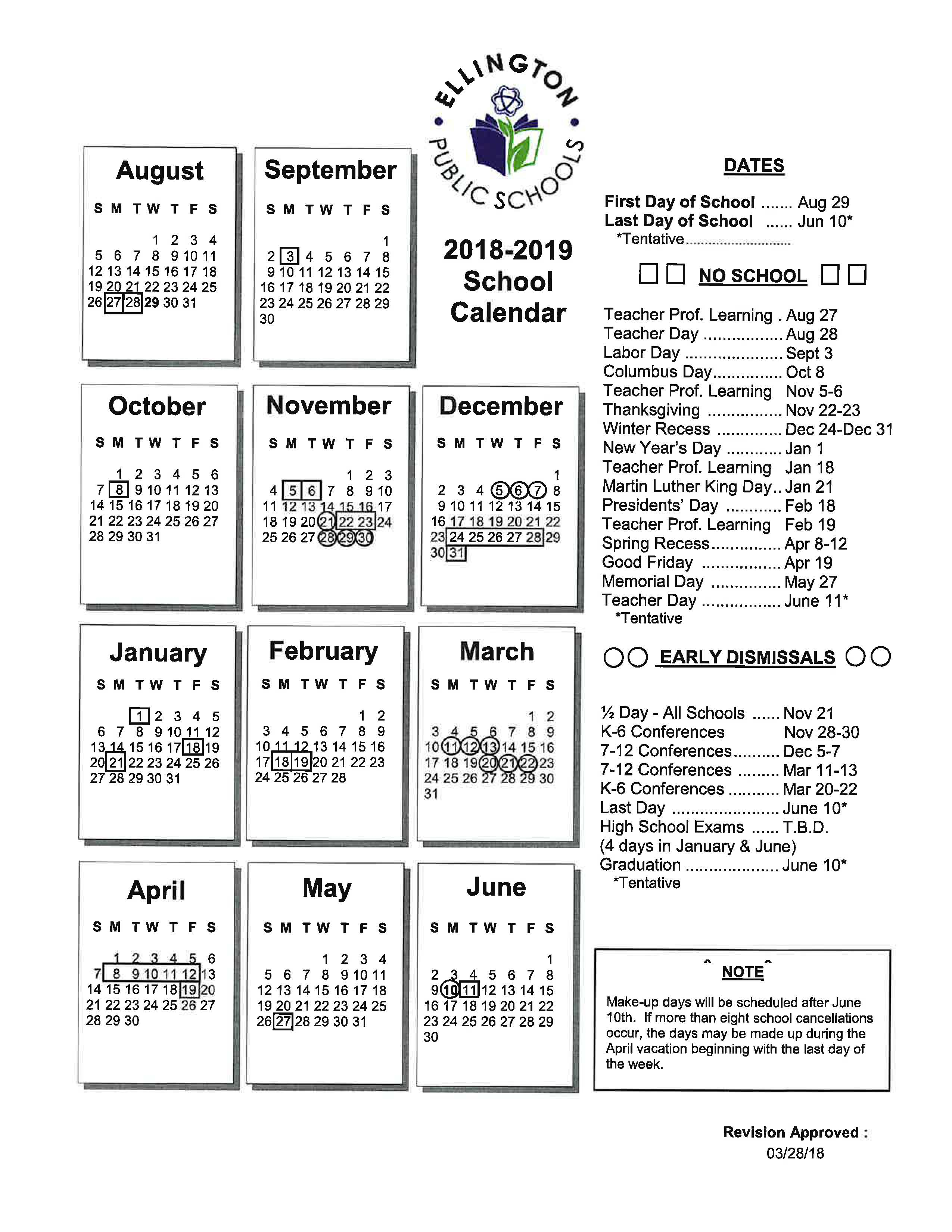 yearly calendar and school hours ellington public schools
